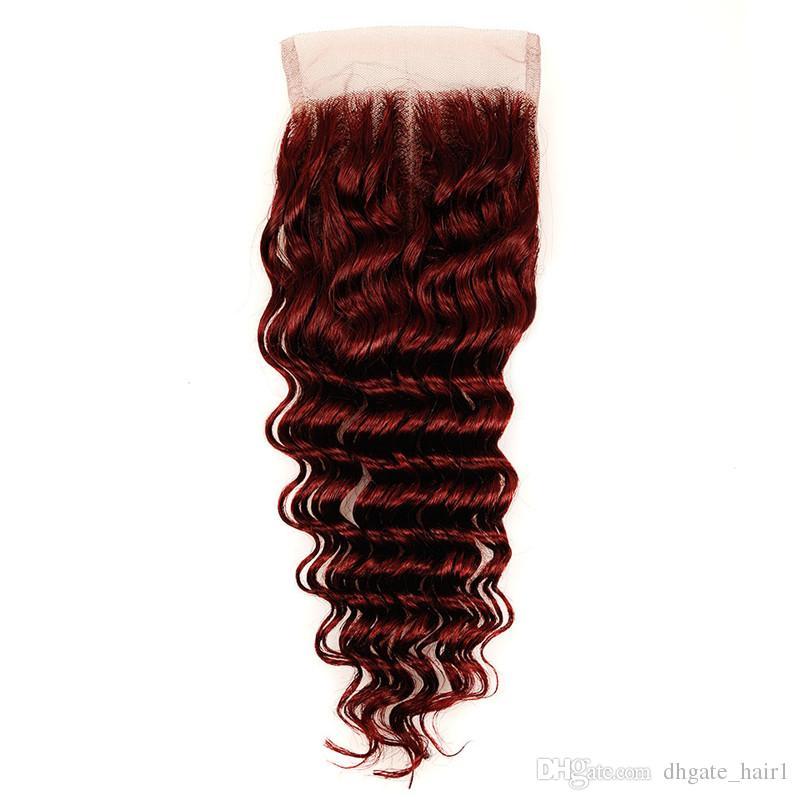 Fasci di capelli umani rosso vino brasiliano con chiusura superiore Chiusura in pizzo # 99J bordeaux rosso 4x4 con fasci di tessuto capelli vergini