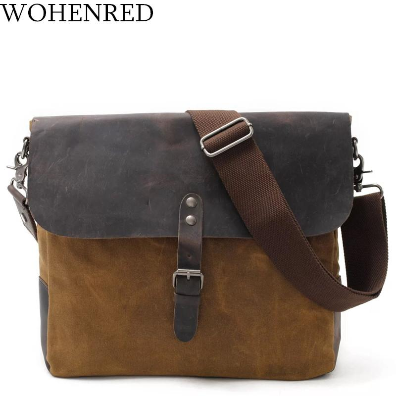 Men Messenger Bags Vintage Leather Waxed Canvas Shoulder Bags For Male  Crossbody Bag High Quality Designer Travel Casual Satchel Luxury Handbags  Red ... 76b353446e56a