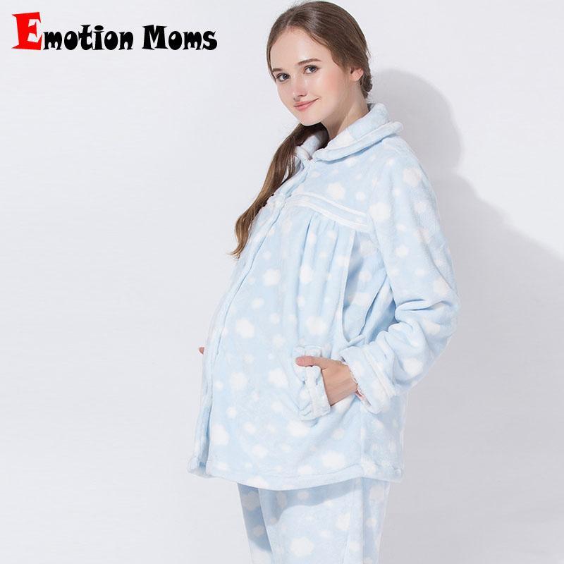 4fe1eafba2a317 Emoção Mães Inverno maternidade Pijama amamentação sleepwear Conjuntos  Gravidez Pijamas Terno de enfermagem Pijama para mulheres grávidas