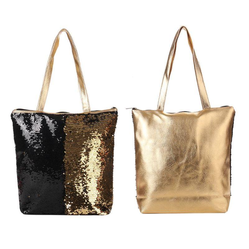 eed4eca0a6883 1PC Women s Reversible Sequins Shoulder Bag Glitter Shopping Casual Tote  Handbag Double Sided Sequins Bags for Women 2018
