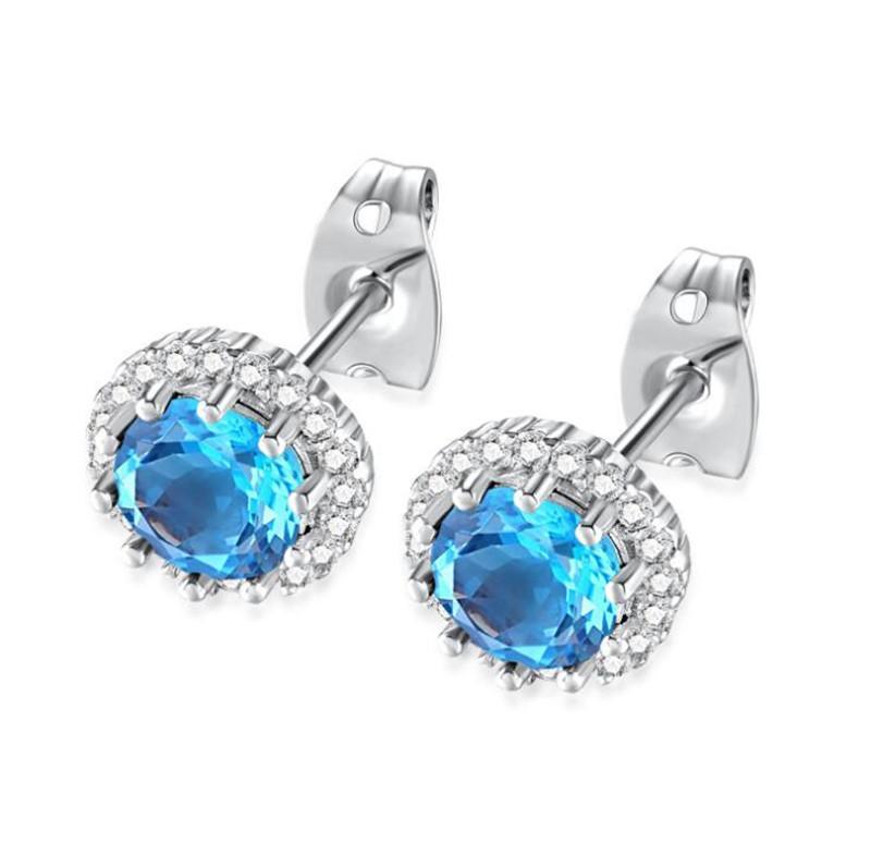 fashion birthstone earrings jewelry korean style cz stud earrings for women girls shining 8mm cubic zirconia earings