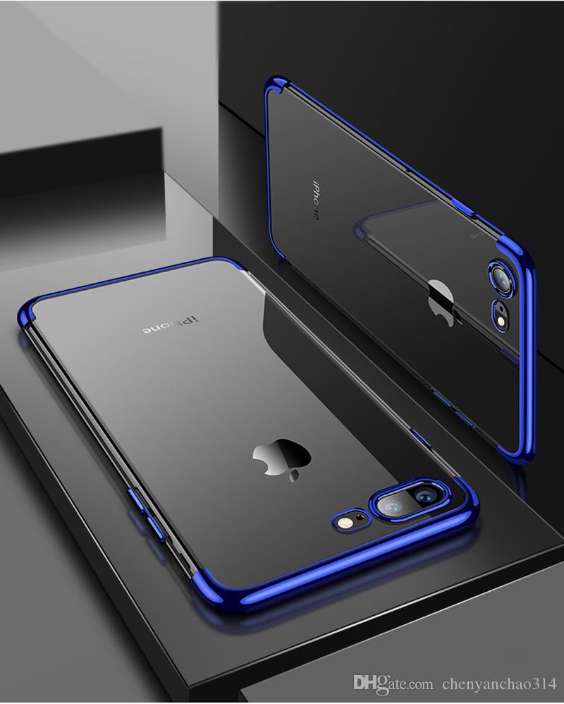 Metal galvanoplastia limpar case macio tpusilicone anti-choque protetor capa para iphone x 8 7 6 6 s plus samsung s8 s9 além de casos