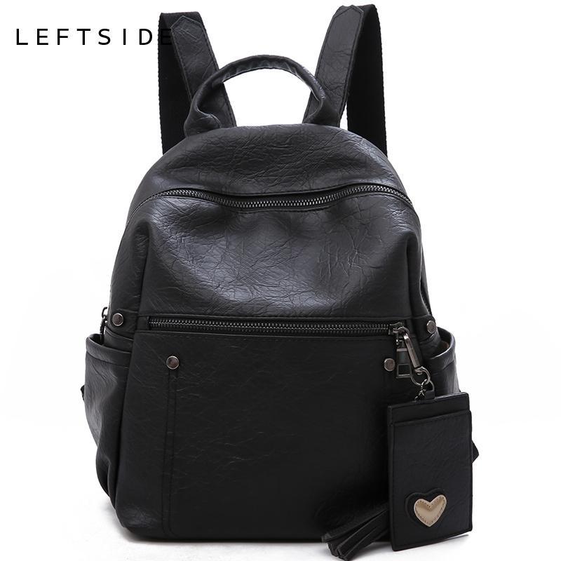 252811a5c0 LEFTSIDE Leather Backpack For Women 2018 Female Teenage Girls School  Backpacks Large Shoulder Bag Black Back Pack Travel Bags School Backpacks  Cool ...