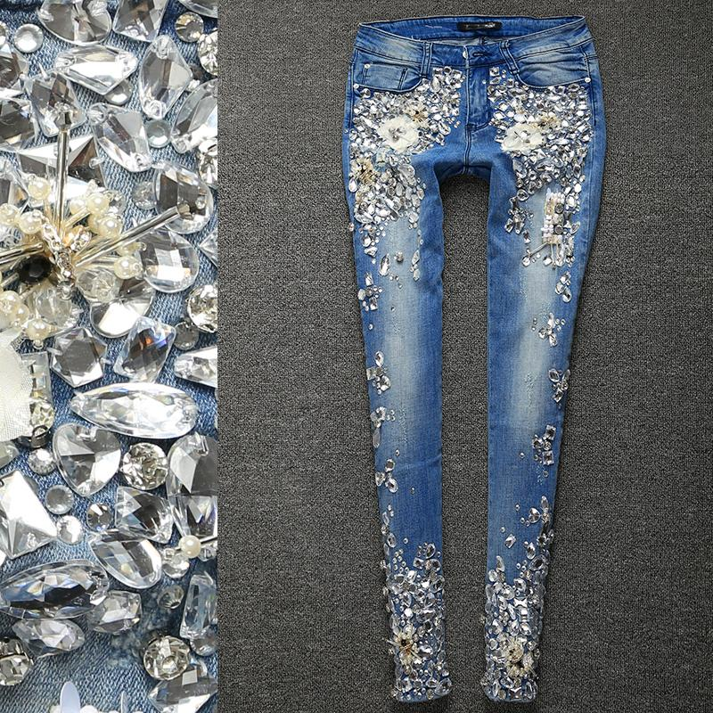 2019 Brand Women Luxury Rhinestones Diamond Leggings Denim Jeans Women  Pants Skinny Stretch Plus Size Pencil Slim Vintage Trouser From Sheju 976c00e5bb4a