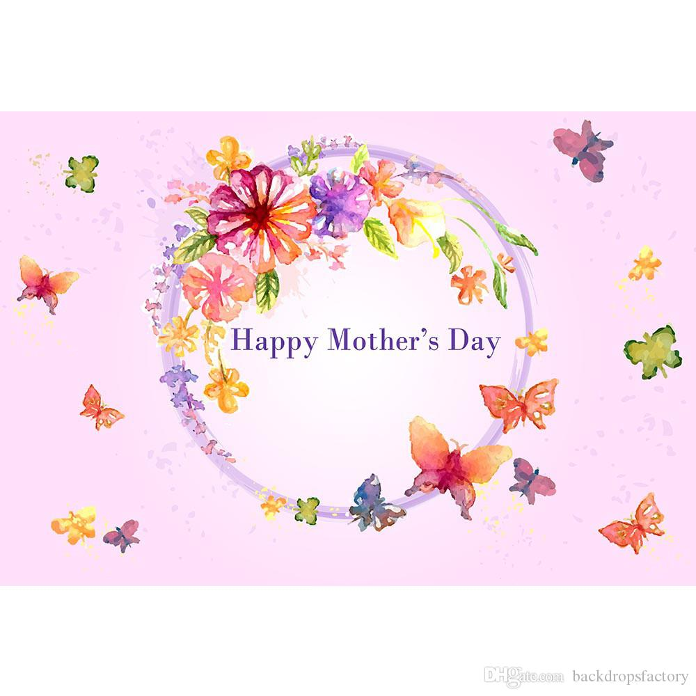 Happy Mothers Day Backdrop Photography Digital Printing Butterflies Flowers Light Pink Party Themed Photo Booth Background