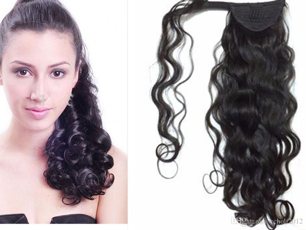 Easy Ponytail Hairstyles Clip In Human Ponytail Hair Piece Long
