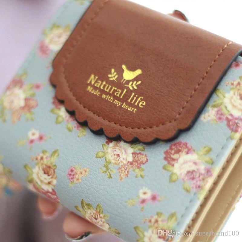 Vier Blatt Pandent Frauen Reißverschluss Brieftasche Falten Handtasche Pu-leder Kurze Geldbörse Kleine Geldbörse Mini Geldbeutel