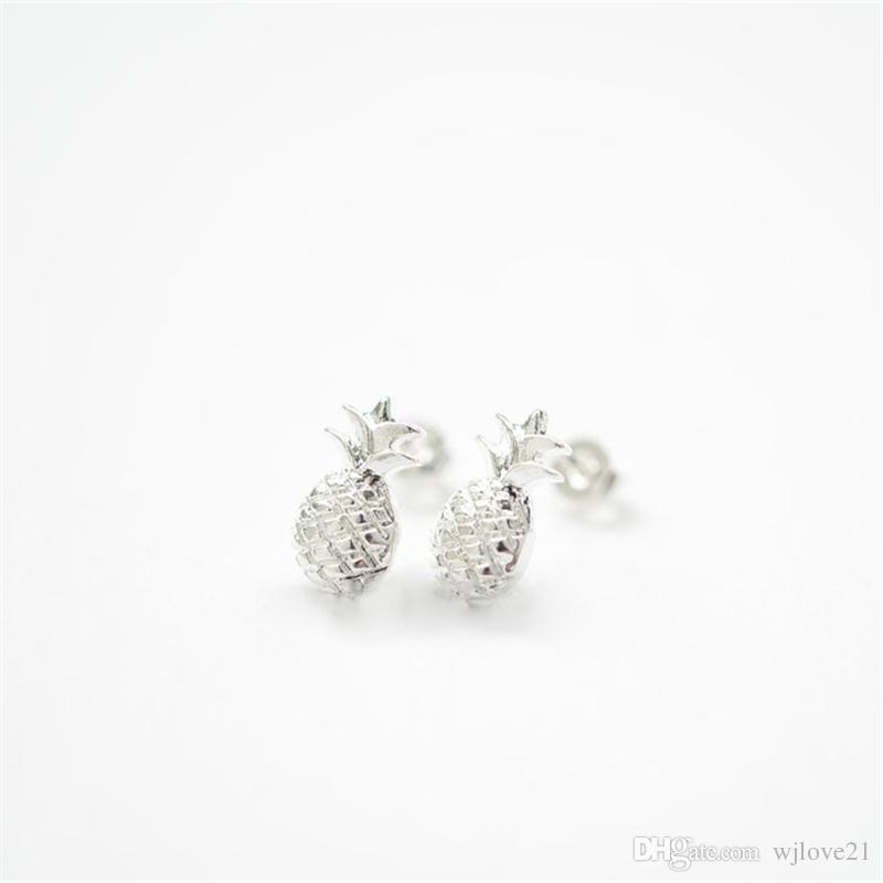 Pendientes de piña de moda Pendientes de piña preciosa pequeña Pendientes de tridimensional fruta stud para mujeres