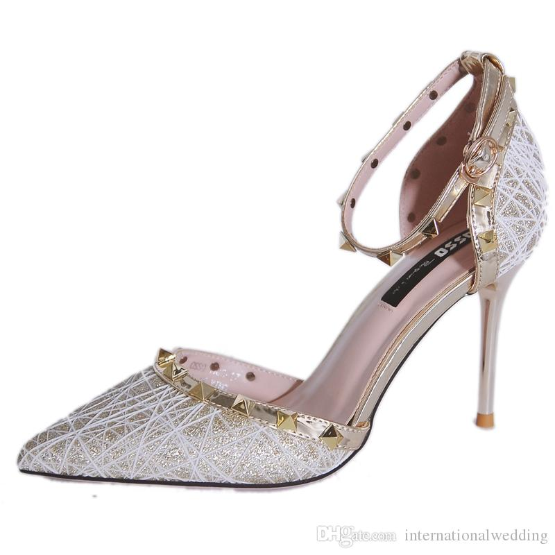 Grosshandel Marke Gold Silber Schwarz Flache Schuhe High Heel Niet