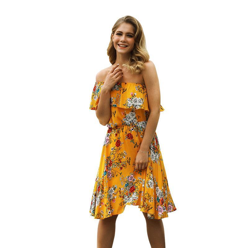 16df6107ffd Trendy 2018 Bohemia Summer Women s Dress Hot Sexy Strapless Floral Print  Holiday Beach Dress Off Shoulder High Waist Party