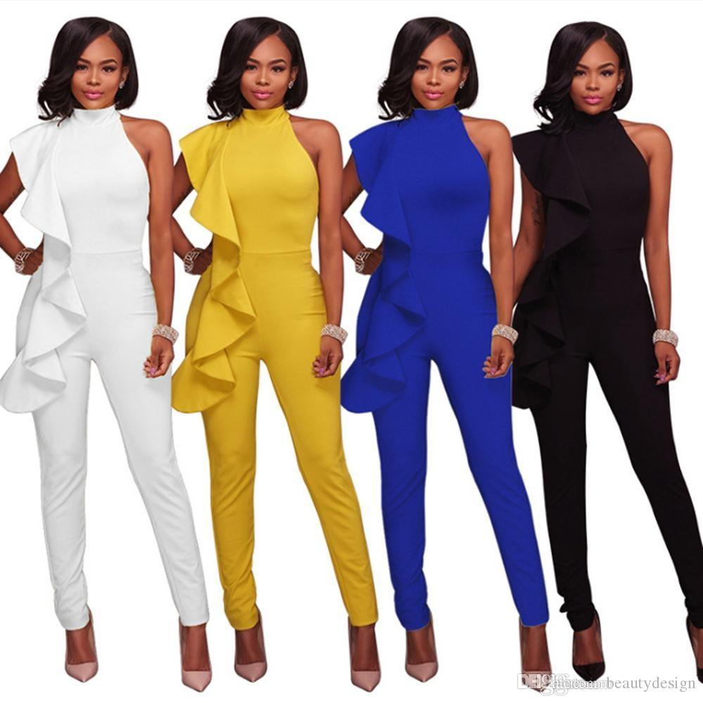 0d3cae495b8 Fashion Women Slim Fit Bodycon Rompers Jumpsuits Sheath Ruffles ...