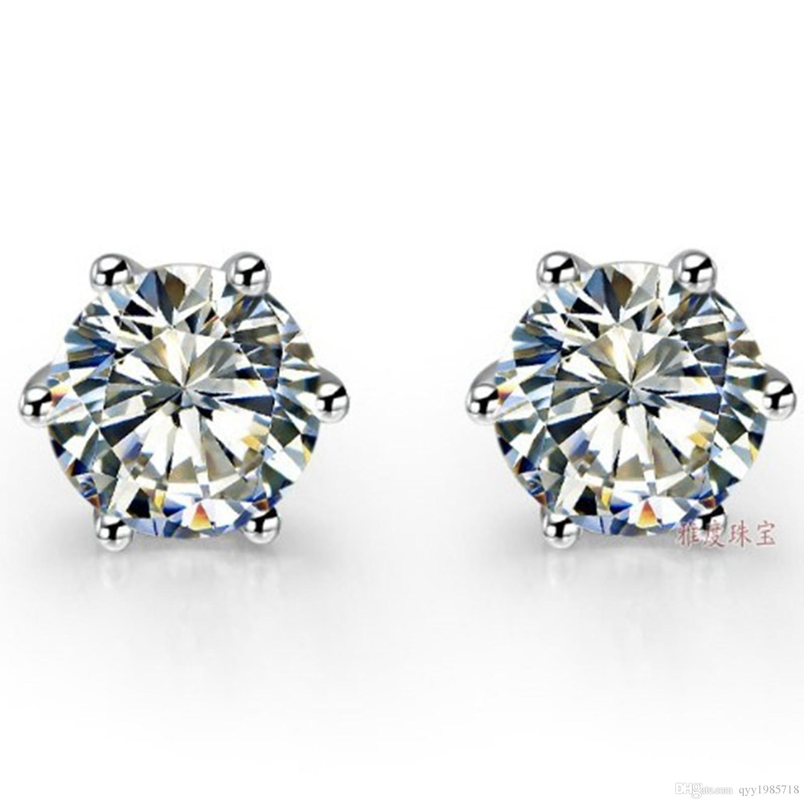 0.5CT Piece Round Cut Clear I-J Synthetic Diamonds Stud Earrings ... d48cef5b8cab