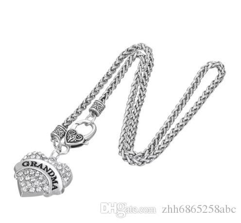 Письмо бабушка кулон ожерелья браслет серьги подвески подвески ювелирные изделия родий Кристалл кулон женщины ювелирные изделия