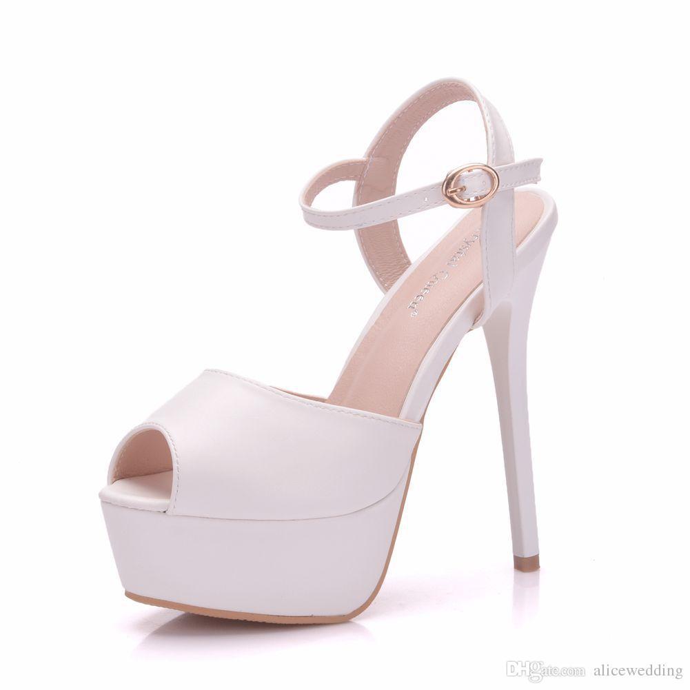 41eec2cc88 Toe Mujer Peep Compre Nuevo Blanco Para Zapatos Hebilla Verano wqwp8HOX