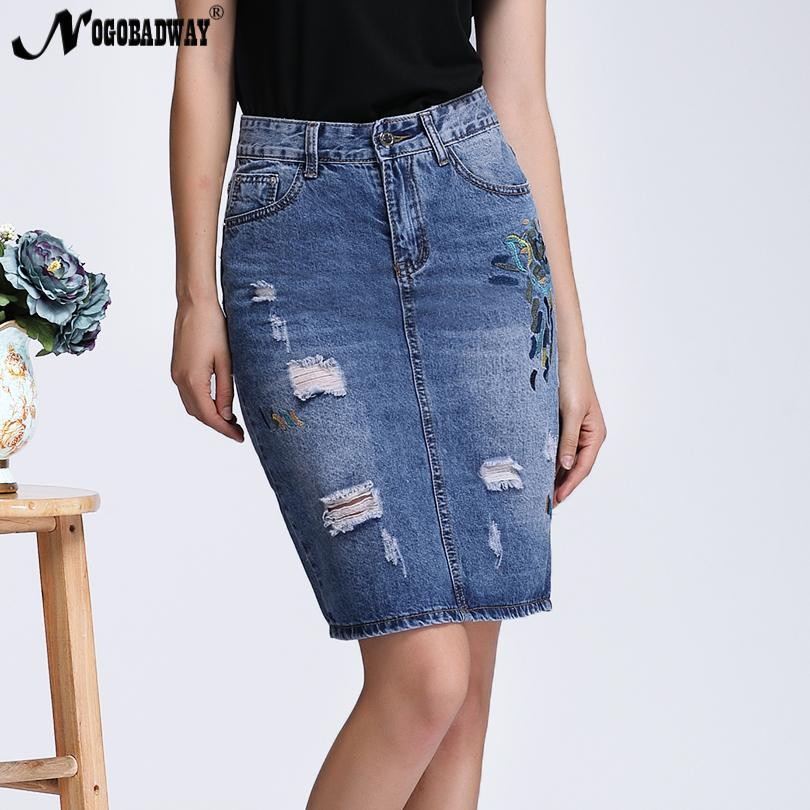 f0d72c191 2019 Plus Size S 4XL Embroidered Denim Skirts High Waist Women 2018 Spring  Summer Short Casual Split Pencil Jeans Skirt Ladies Saia S916 From Ruiqi03,  ...