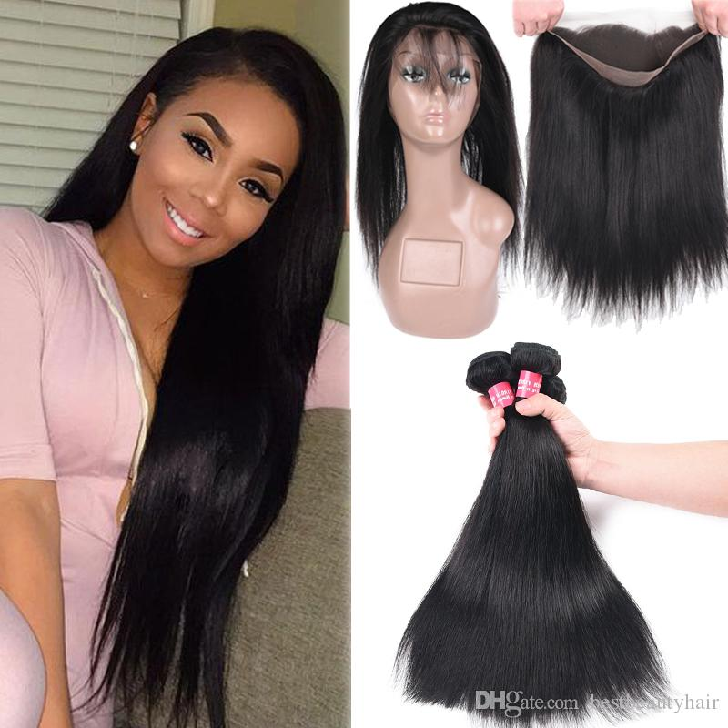 Brazilian Body Wave Straight Human Hair 3 Bundles With 360 Full