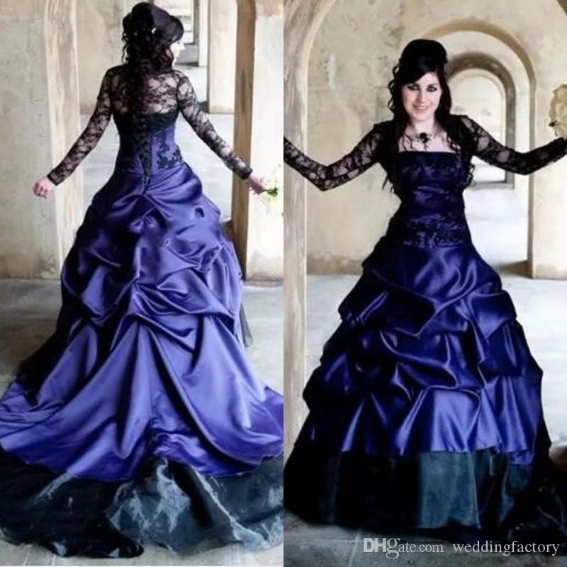 Discount Vintage Gothic Wedding Dress Purple And Black Long Sleeve ...