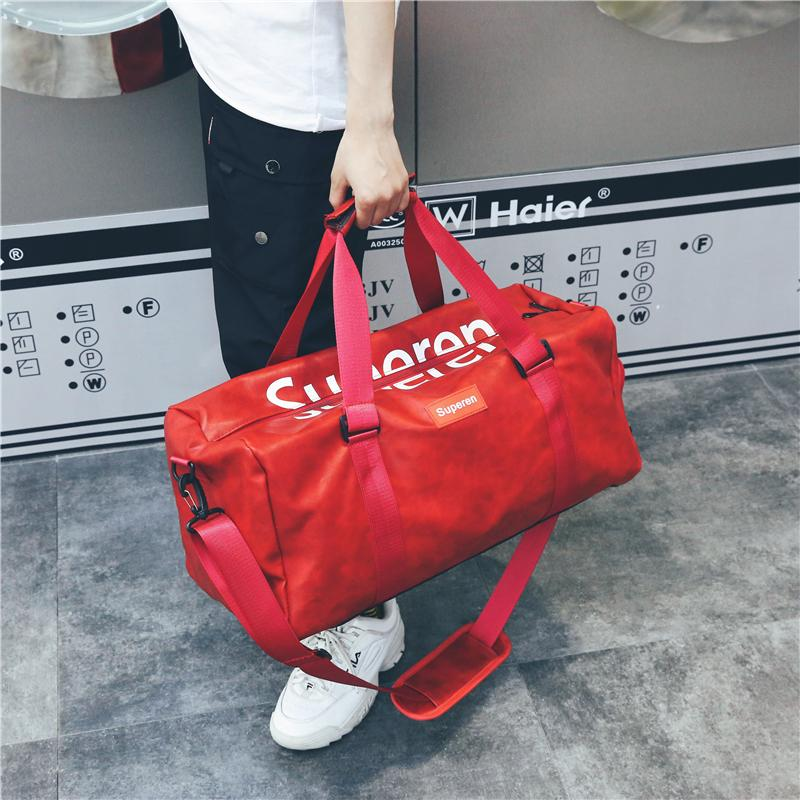 e0c00d3a640a Unisex PU Travel Bag Women High Capacity Travel Duffle Bag Men ...