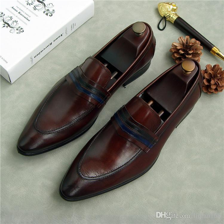 Новый 2018 черный натуральная кожа мужчины платье обувь мужские квартиры формальные бизнес обувь свадебные платья обувь
