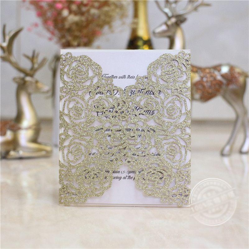 elegant champagne glitter laser cut wedding invitation free