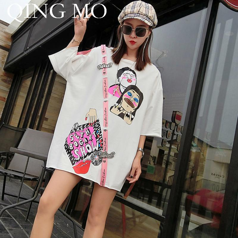 aaa83049f0087 Qing Mo Character Pattern Shirt For Women 2018 New Summer Tops Short Sleeve  Appliques T Shirt Plus Size Print Adq333 Print Shirts Print T Shirt From ...