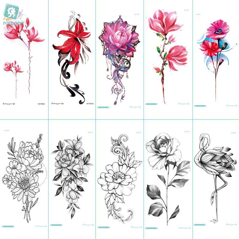 a1b66c775 Rocooart QC595 907 20X10cm Colorful Tatuajes Temporales Tattoo Sleeves Body  Art Flowers Flamingo Temporary Tatoos Sticker Taty Temporary Tattoo Store  ...