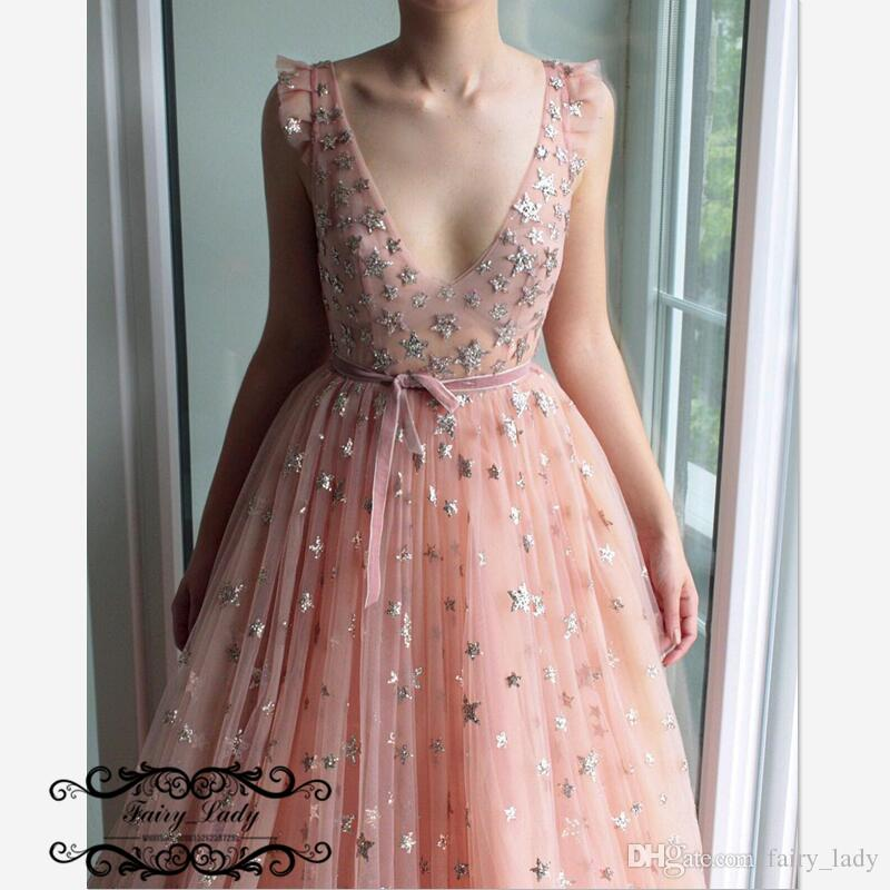 Sexy Deep V Neck Pink Prom Dresses With Sash Gold Sequined Stars
