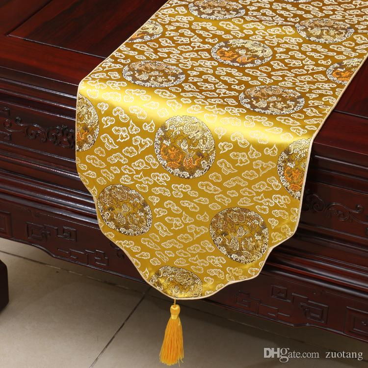 Vintage Cloud Chinese Style Silk Damask Table Runner Coffee Table Mat  Decoration Ethnic Table Cloth Rectangular Placemat 180 X 33 Cm Holiday Table  Runners ...