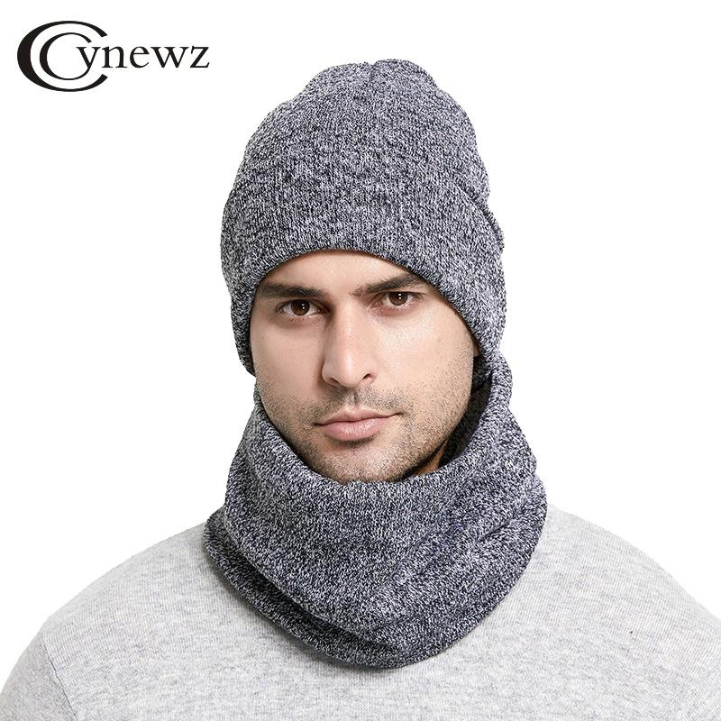4ce5433dff7 Unisex Winter Hats Scarf Set For Men Women Warm Thick Knitted Hats ...
