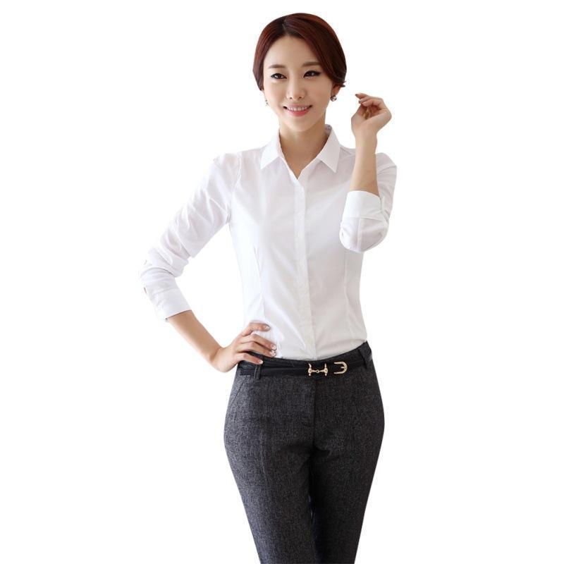ef4fd8284a Compre 2018 Moda Camisa Blanca Mujeres Ropa De Trabajo De Manga Larga Mujer  Oficina Blusas Tops Mujeres Delgadas Blusas Formales Camisas Blusas Baratas  A ...