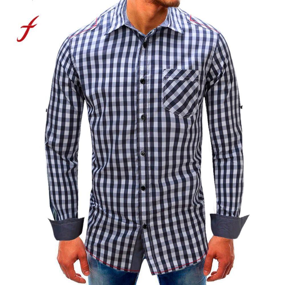 2018 Feitong High Quality Mens Oxford Casual Shirts Men Lattice