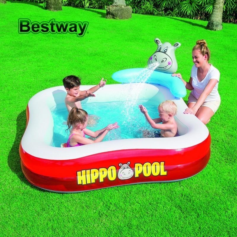 2019 53050 Bestway 79x79x36 Hippo Play Pool 201mx201mx91cm Grass