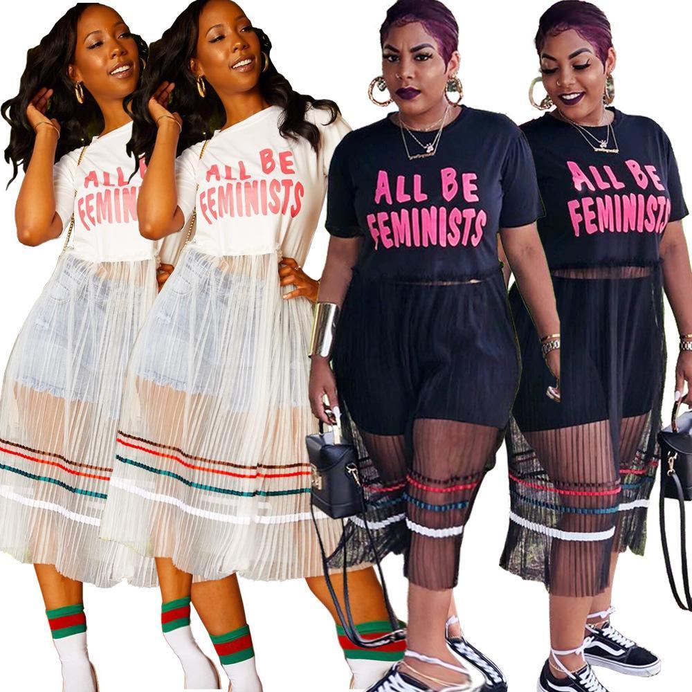 e88b19a500158 Mesh Striped Letter Print T Shirt Skirt Two Colors New V Neck Short Sleeve  Sequin Party Dresses Women Sexy Mesh Midi Dress WG0071 Plus Size Cocktail  Dresses ...