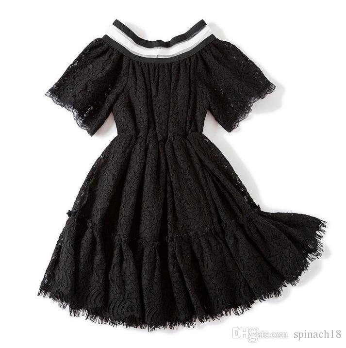 New Spring Summer Baby Mädchen Spitzenkleid Kurzarm Blumen Spitze Prinzessin Kleid Kinder Elegante Kleider Schwarz Weiß 3925