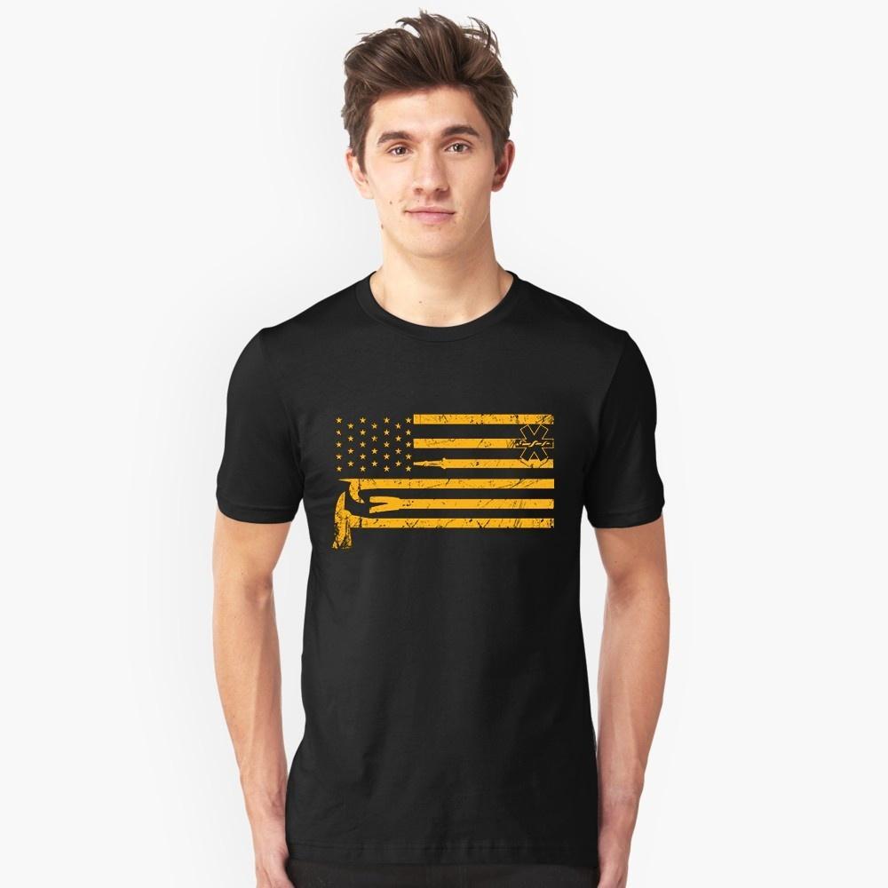 Fire Department Ems Flag Mens Cotton Print T Shirt Funny Design