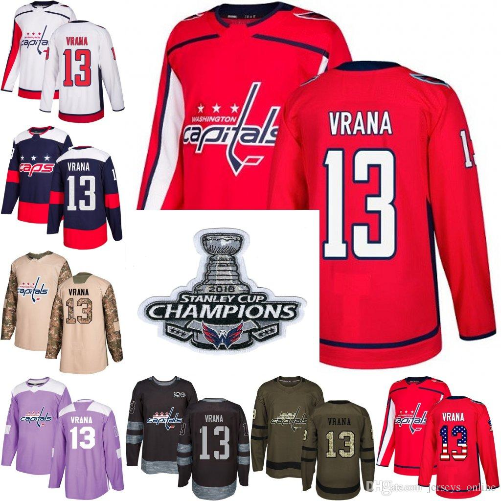 2019 2018 Stanley Cup Champions 13 Jakub Vrana Washington Capitals Red USA  Flag Purple Fights Cancer Practice Camo Veterans Day Hockey Jersey From ... 005fd2e25c2