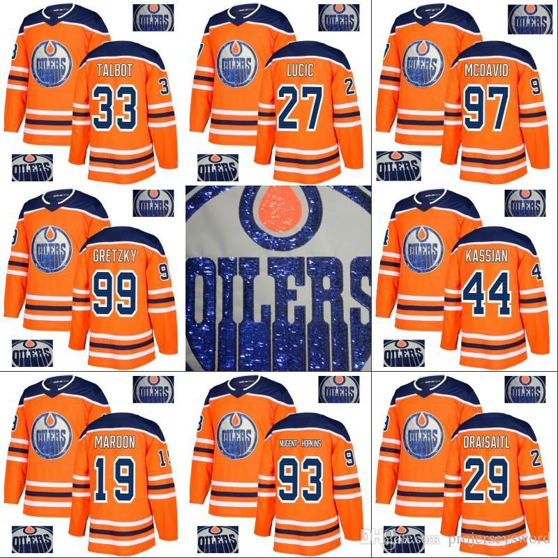 finest selection 12a36 d2d25 2018 Edmonton Oilers Jersey Connor McDavid Cam Talbot Ryan Nugent-Hopkins  Milan Lucic Leon Draisaitl Zack Kassian Special Embroidery Jerseys