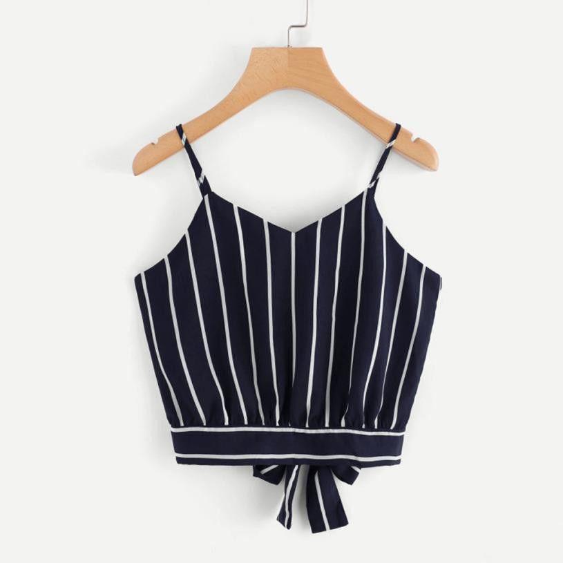 2f90b09da646 2019 Women S Bowknot Tie Back Crop Top 2019 Summer V Neck Striped Cami  Camisole Backless Short Sleeveless Blouse Girls  10 From Bibei10