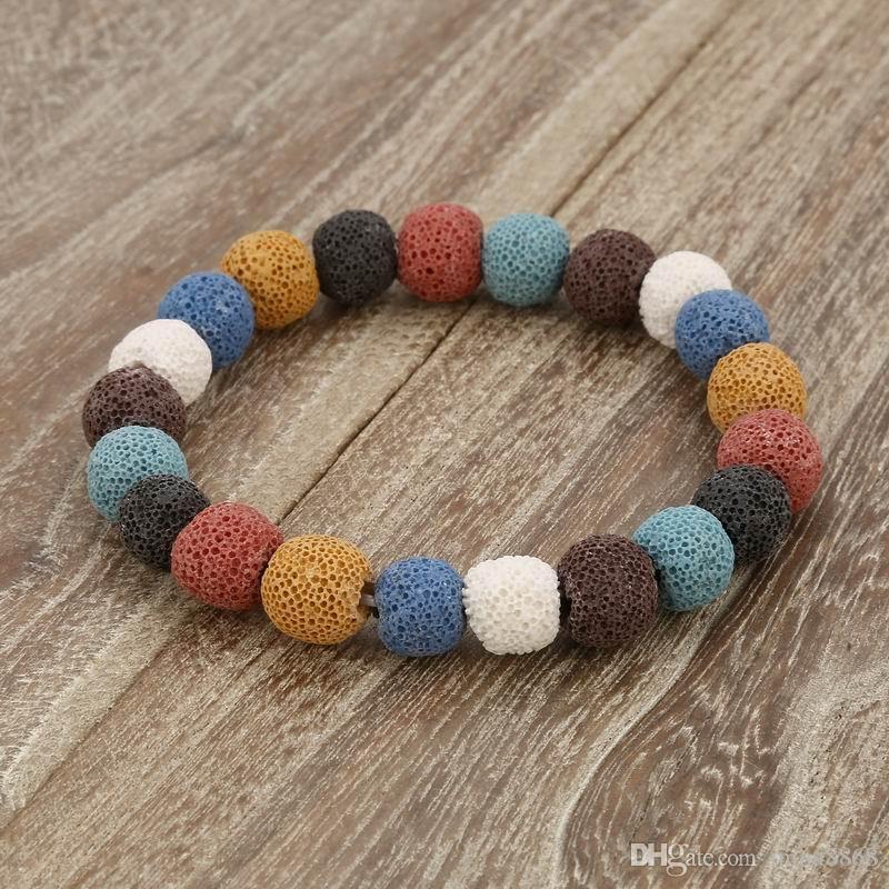 Filles à la mode coloré pierre volcanique Bracelet main guérison équilibre naturel pierre Yoga Boho étoile en forme de coeur Bracelet