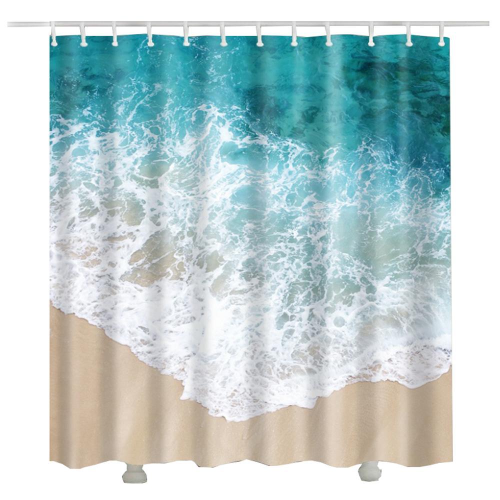 2019 3d Beach Waves Bathroom Curtain Douchegordijn Bath Polyester Waterproof Fabric Shower Curtains From Caley 273