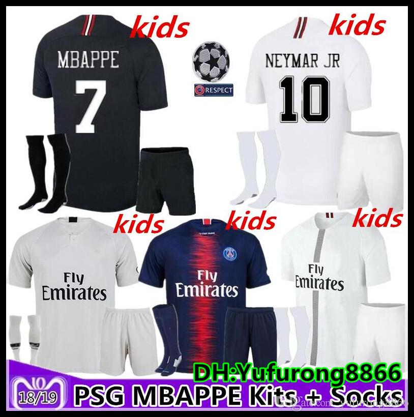 696c52e93 2019 2018 2019 Kids Kit +Sock Paris PSG Mbappe Soccer Jerseys 18 19 Jordam  Champions League Home VERRATTI CAVANI DI MARIA DE FOOT Child SHIRT From ...