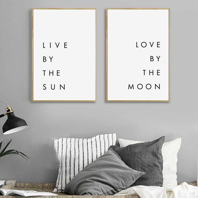 Schlafzimmer Wand Kunst Minimalist Canvas Print Poster - Live von der Sonne  Liebe durch den Mond Typografie Leinwand Malerei Modern Wall Decor