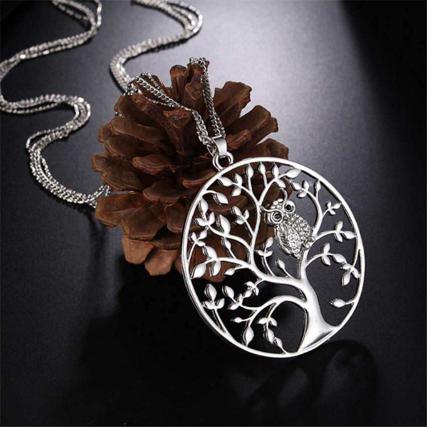 Tiny Crystal Animal Owl Pendant Necklace Multilayer Chain Tree of life Necklaces Jewelry Silver/Rose Gold for Women Gift Female collares