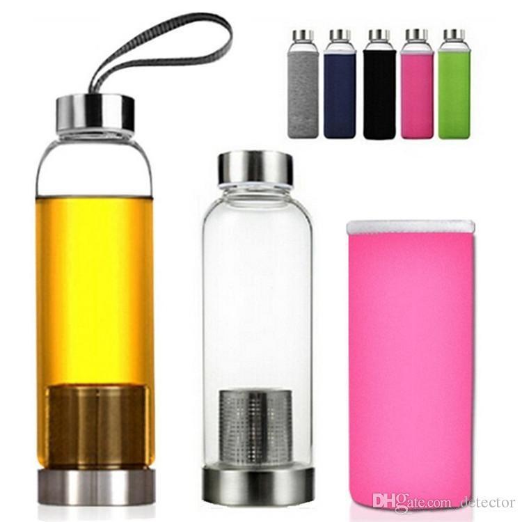 550Ml Botella de agua libre de Bpa de vidrio resistente a altas temperaturas con filtro de té Infusor Jarra de agua caliente Bolsa protectora Jarra de té