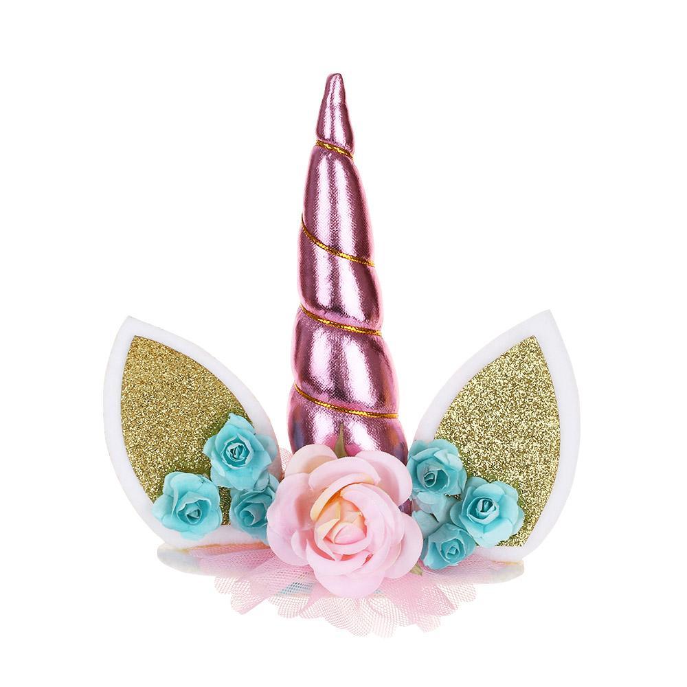 Ouro Prata Rosa Unicorn Chifres Bolo Topper Crianças Birthday Cake Decoração Favores Do Partido de Aniversário Decoração Fontes Do Evento