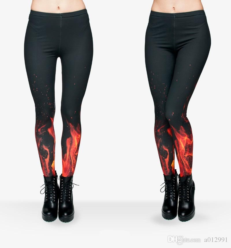 7f73c18331 DHL FREE!! 10pcs/lot Women Fire flame Leggings 3D Printing Legging Stretchy  Trousers Casual Slim Capri Leggings Women Yoga Work out pants