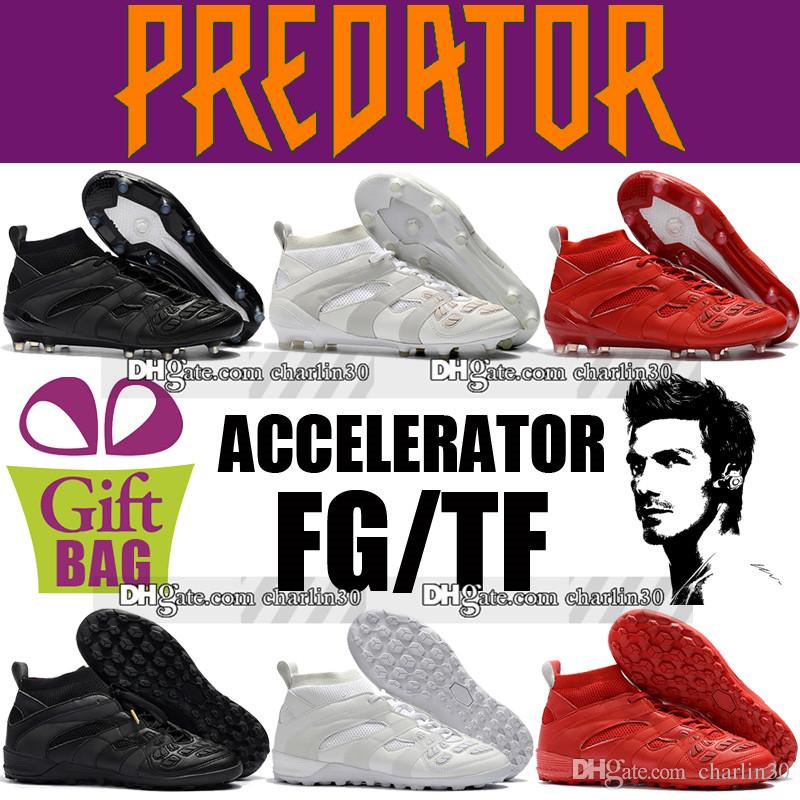 707203d2412 2018 Mens High Top Leather Football Boots Predator Accelerator DB FG TF  Soccer Shoes Outdoor Indoor David Beckham Socks Soccer Cleats Turf Mens  Boots Thigh ...