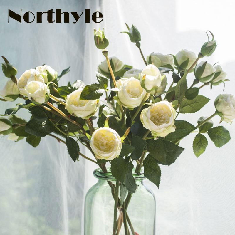 Good quality 5 heads artificial white roses silk flowers bouquet for good quality 5 heads artificial white roses silk flowers bouquet for home party decoration champagne real touch rose flowers wedding artificial flower mightylinksfo Gallery