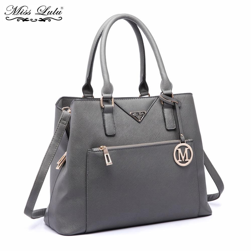 c147f2d24 Compre Miss Lulu Mulheres Designer De Bolsas De Couro PU Senhoras Bolsa De Ombro  Feminino Moda Grande Tote Meninas Sacos De Corpo Cruz LT6611 De Bluehill,  ...