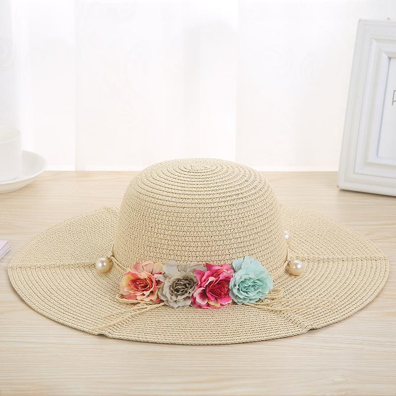 664a8cd45a3fc 2018 New Arrivals Weave Straw Hats Fashion Wide Brim Summer Flower Sun Hats  For Women Beach Floral Pearl Hat Sun Hat Outdoor Black Hats Scala Hats From  ...